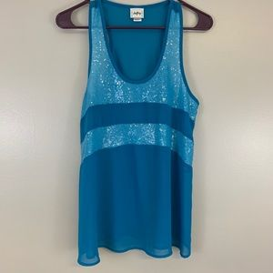 Daytrip Sheer Sequin Racerback Blue Tank Medium